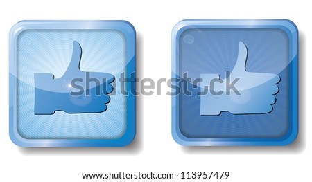blue radial thumb up icon