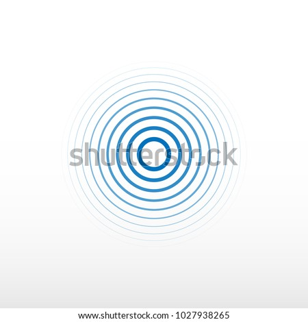 Blue radio station signal. Sound wave background. Circle spin vector background. Vector icon.