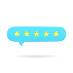 Blue rating bubble with five stars 3d icon. Positive vote of satisfied customers. Online survey among users with appraisal. Characteristics of buyers for services in market. Realistic isolated vector