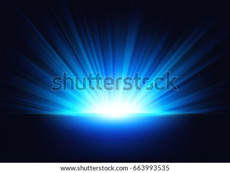 Blue Rays rising on dark background. Suitable for product advertising, product design, and other. Vector Illustration