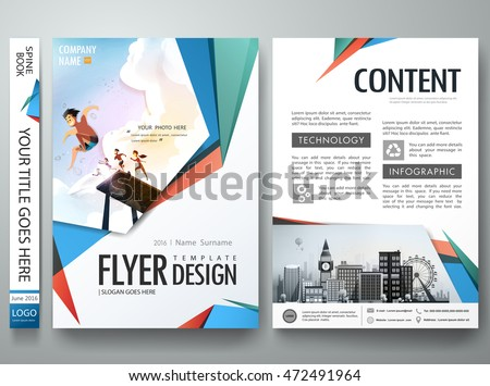 Blue red abstract shape on portfolio. Brochure design template vector. Business flyers report magazine poster.Cover book presentation. City concept in a4 layout.