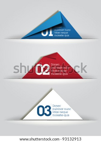 blue red white folded paper vector / card design / web design /