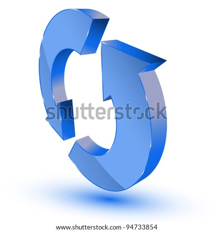 Blue refresh-recycling symbol