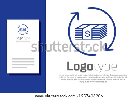Blue Refund money icon isolated on white background. Financial services, cash back concept, money refund, return on investment, savings account. Logo design template element. Vector Illustration
