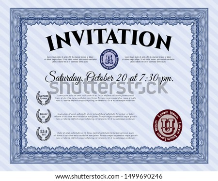 Blue Retro invitation template. Nice design. Customizable, Easy to edit and change colors. Printer friendly.