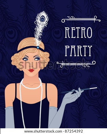 Blue retro party invitation design. Vector illustration.