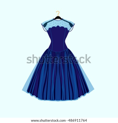 blue retro style dress vector