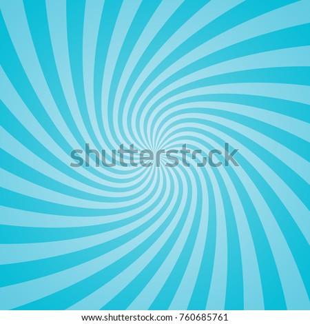 Blue retro sunburst background. Vector illustration