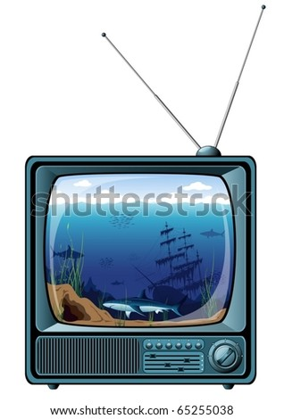 blue retro tv  with sea view