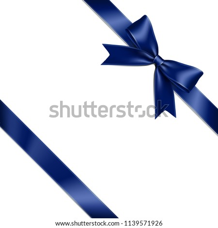 Blue ribbon bow lean isolated on white background. Vector illustration of blue ribbon bow. Greeting gift bow concept.