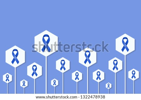 Blue ribbon demonstration with signs for healt related awareness programs and campaigns.