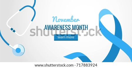 Blue Ribbon mens prostate cancer awareness banner with stethoscope on white background with ribbon symbol. Vector flat illustration