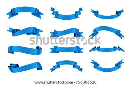 Blue ribbons set.Vector ribbon banners. #756306520