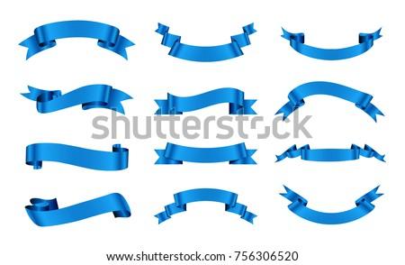 Blue ribbons set.Vector ribbon banners.