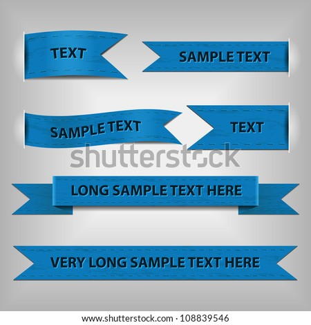 blue ribbons with sample text