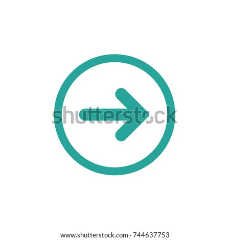 blue right rounded arrow in blue circle icon. Isolated on white. Continue icon.  Next sign. East arrow.