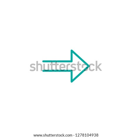 blue right sharp arrow. Line icon isolated on white. Continue icon.  Next sign. East arrow.