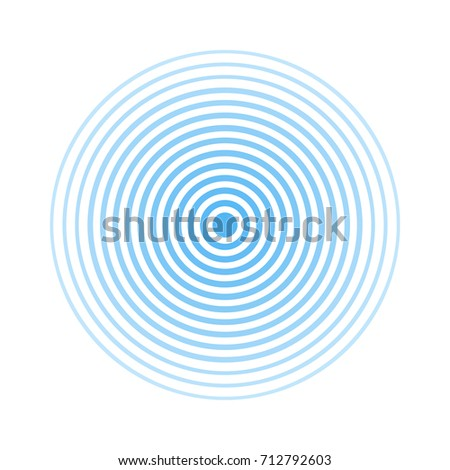 Blue rings sound wave and line in a circle. Sound wave wallpaper. Radio station signal. Circle spin vector background.