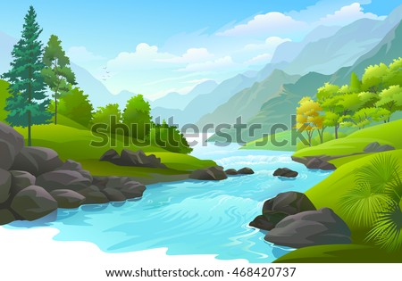 Blue river flowing across green forest