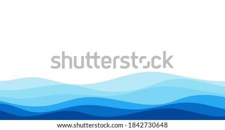Blue river ocean wave layer vector background illustration