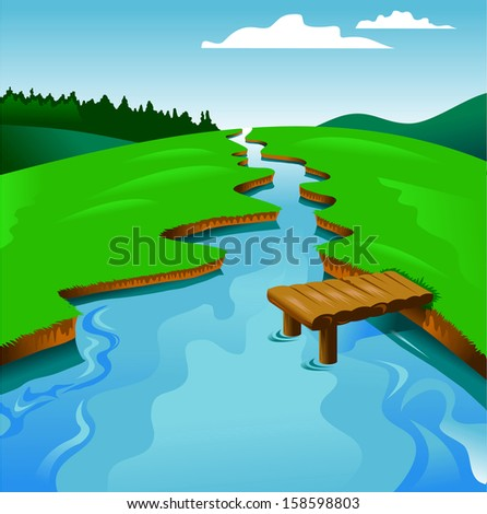 blue river on a background of