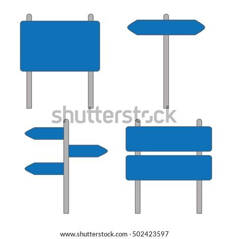 Blue Road Sign Set on White Background #502423597