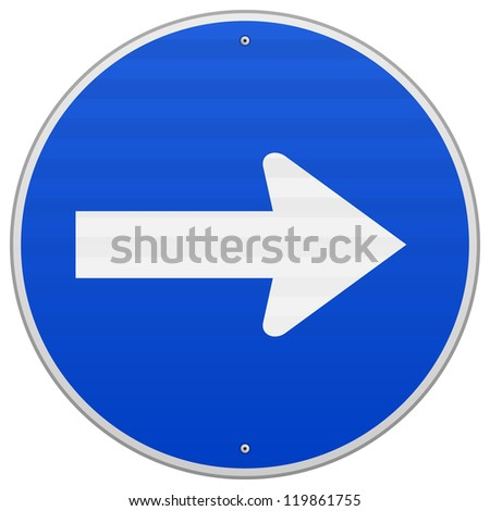 Blue Roadsign Pointing Right - Direction to right as a white arrow on blue sign