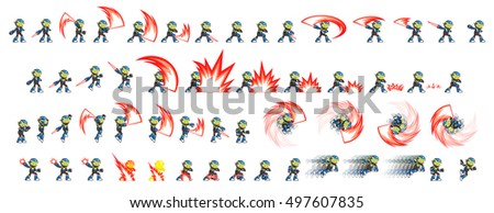Stock Photo Blue Robot Game Sprites. Suitable for side scrolling, action, and adventure game.