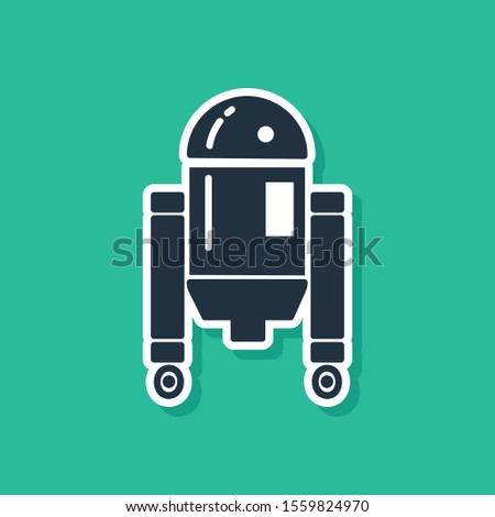blue robot icon isolated on