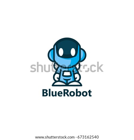 blue robot logo template design