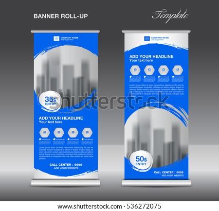 Blue Roll up banner template vector, flyer, advertisement, x-banner, poster, pull up design #536272075