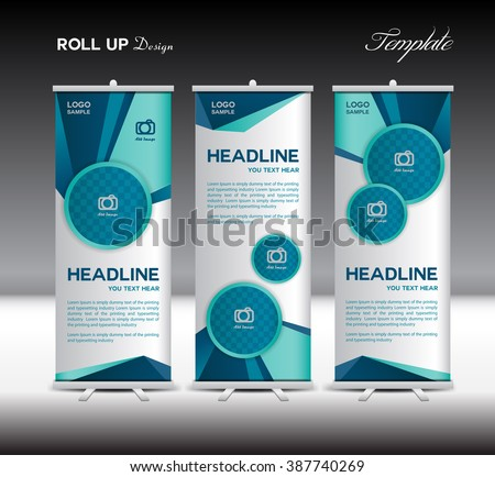 Blue Roll Up Banner template vector illustration, advertisement, display, stand flyer design,  polygon background
