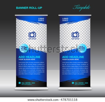 Blue Roll up banner template vector, roll up stand, banner design, flyer, advertisement, polygon background, poster (2) #478701118