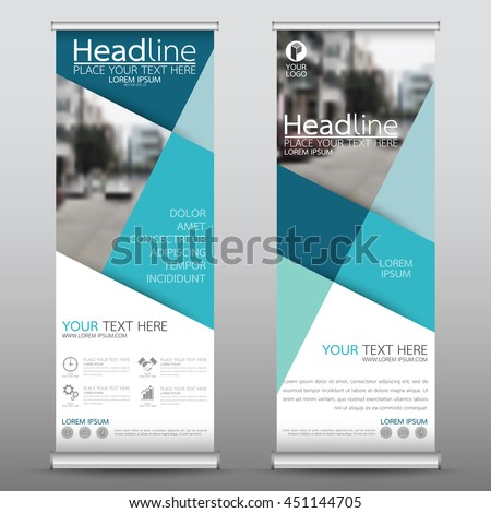 Blue roll up business banner design vertical template vector, cover presentation abstract geometric background, modern publication display and flag-banner, layout in rectangle size. #451144705