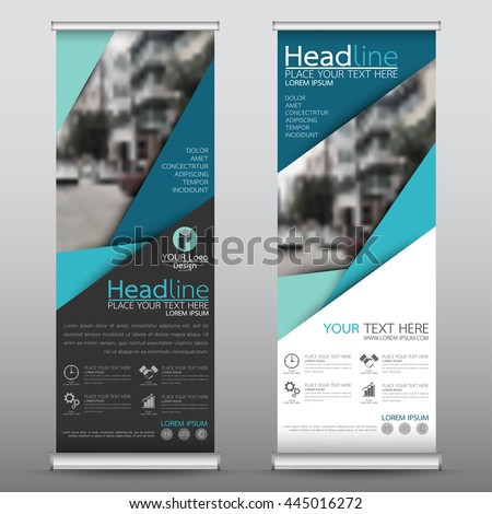 Blue roll up business brochure flyer banner design vertical template vector, cover presentation abstract geometric background, modern publication x-banner and flag-banner, layout in rectangle size. #445016272