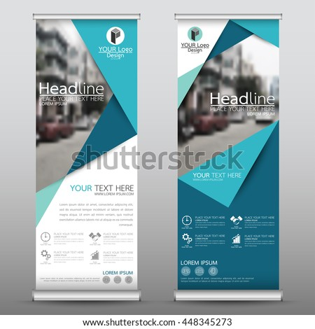 Blue roll up business brochure flyer banner design vertical template vector, cover presentation abstract geometric background, modern publication x-banner and flag-banner, layout in rectangle size. #448345273