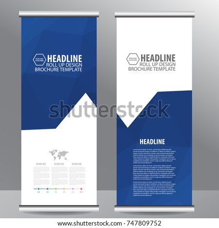 Blue roll up business brochure flyer banner design vertical template vector, cover presentation abstract geometric background, modern publication x-banner and flag-banner,carpet design #747809752