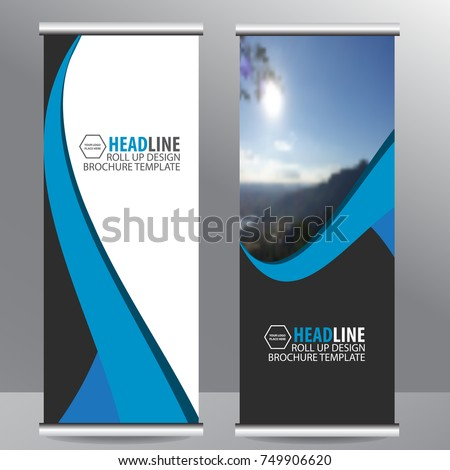 blue roll up business brochure flyer banner design vertical template vector, cover presentation abstract geometric background, modern publication x-banner and flag-banner,carpet design