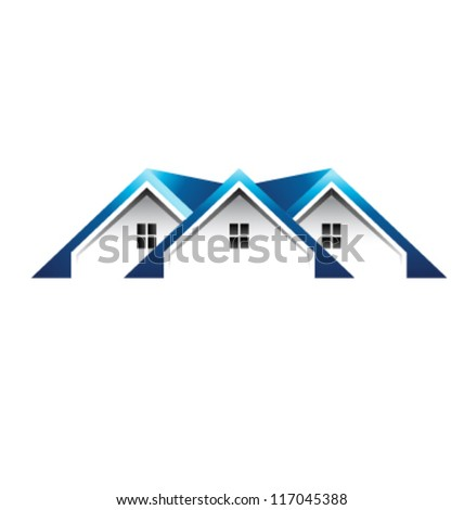 Blue Roof houses image. Vector icon