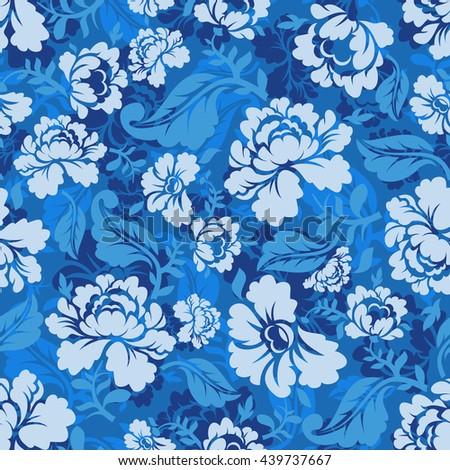 blue rose seamless pattern