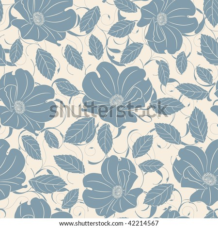 blue roses in one pattern - stock vector