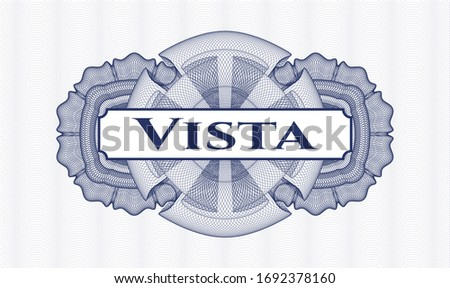 Blue rosette. Linear Illustration. with text Vista inside
