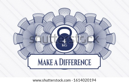 Blue rosette or money style emblem with 4kg kettlebell icon and Make a Difference text inside