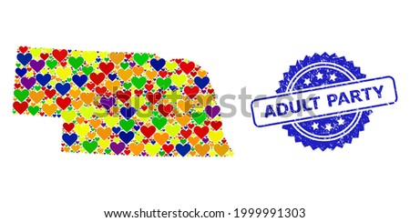 Blue rosette textured seal imprint with Adult Party text. Vector mosaic LGBT map of Nebraska State with love hearts. Map of Nebraska State collage formed with love hearts in multicolored color hues. Photo stock ©