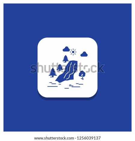 blue round button for waterfall