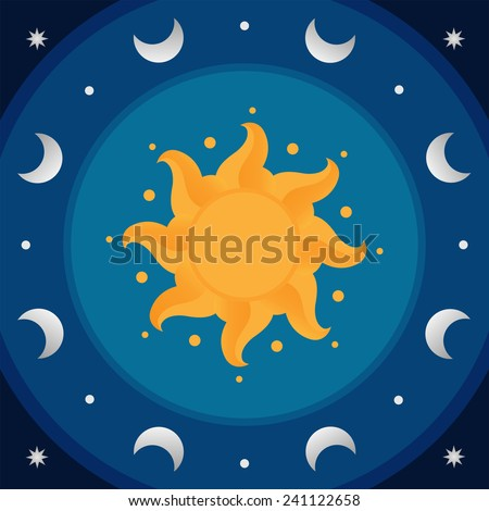 Blue round day and night ornament in sphere with celestial bodies: sun, moon and stars