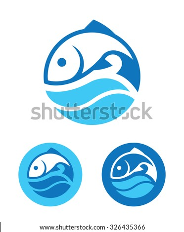 blue round icon with fish and
