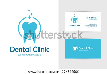 Blue round logo with tooth and business card design template for dental clinic, dentist, teeth care or oral hygiene concept