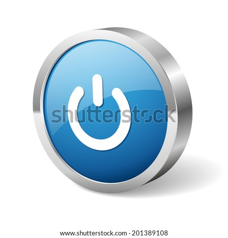 Blue round start button with metallic border on white background #201389108