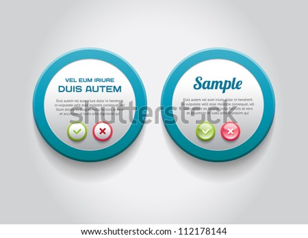 Blue round vector plastic badge with colorful border and OK / Cancel buttons - stock vector